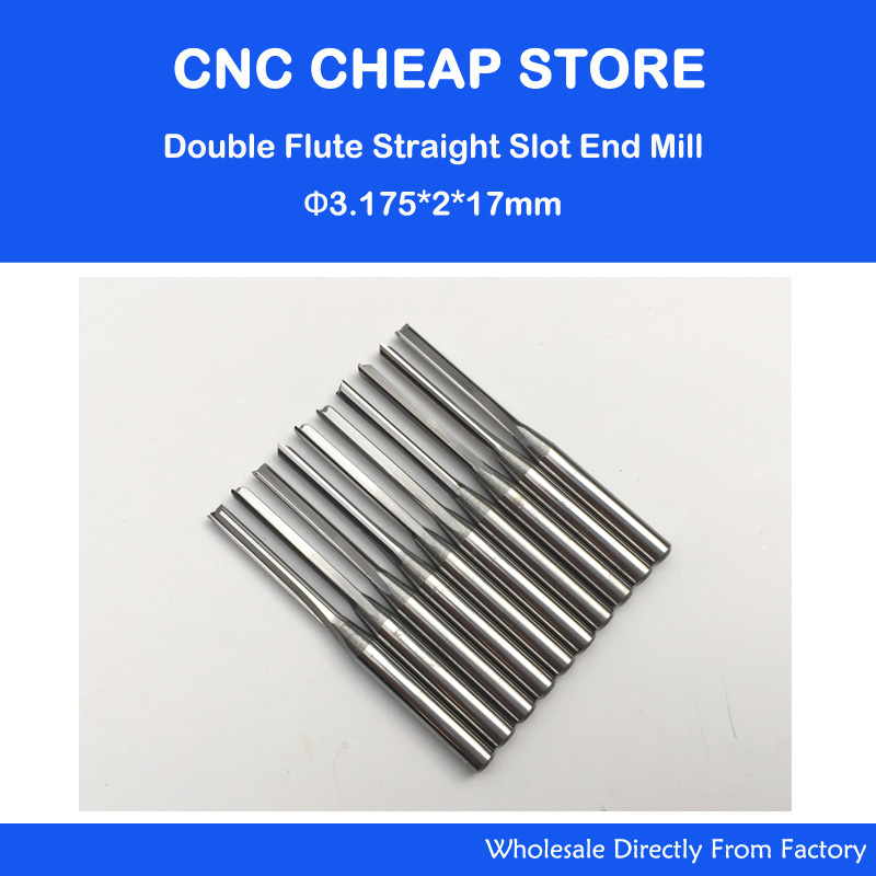 10pcs 3.175mm CED 2mm CEL 17mm Straight Slot Bit Wood Cutter CNC Solid Carbide Two Double Flute Bits CNC Router Bits 1 2 tct tungsten carbide double two straight flute router cutter bit 6 26mm