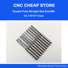 10pcs 3.175mm CED 2mm CEL 17mm Straight Slot Bit Wood Cutter CNC Solid Carbide Two Double Flute Bits CNC Router Bits