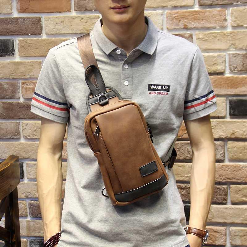 f716636df1f7 Новая дизайнерская мужская сумка-мессенджер из искусственной кожи  коричневая Дорожная сумка на груди маленькая сумка