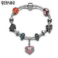 REAMOR 316l Stainless Steel Mom Heart Pendant Bracelet European Crystal Beads Snake Chains Flowers Bracelets Christmas