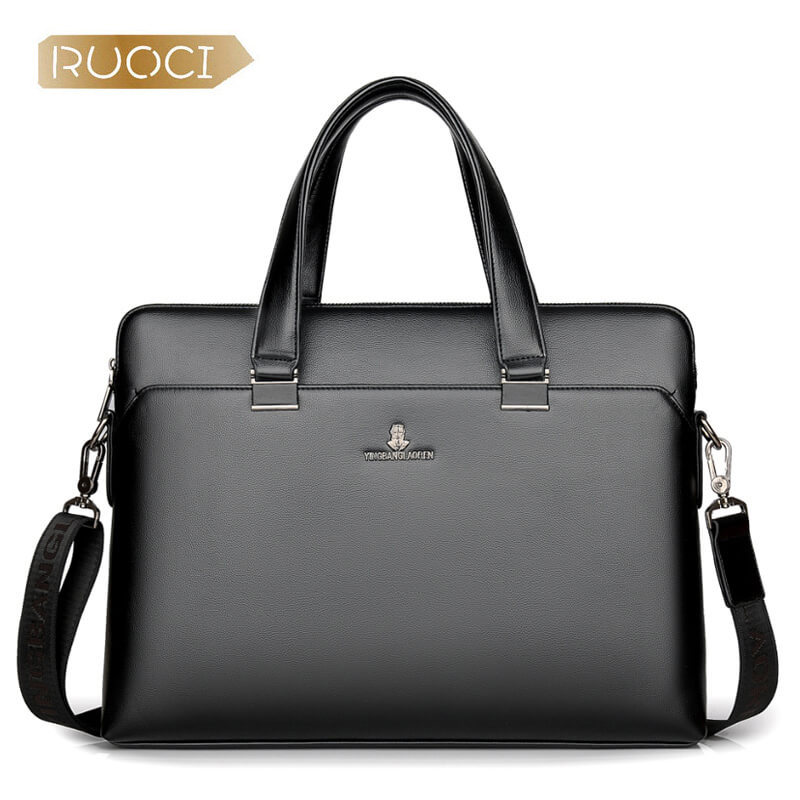 RUOCI Luxury Brand Genuine Leather Men Tote Bag Fashion Men's Business Laptop Bags Real Leather Messenger Bag for Men Briefcase