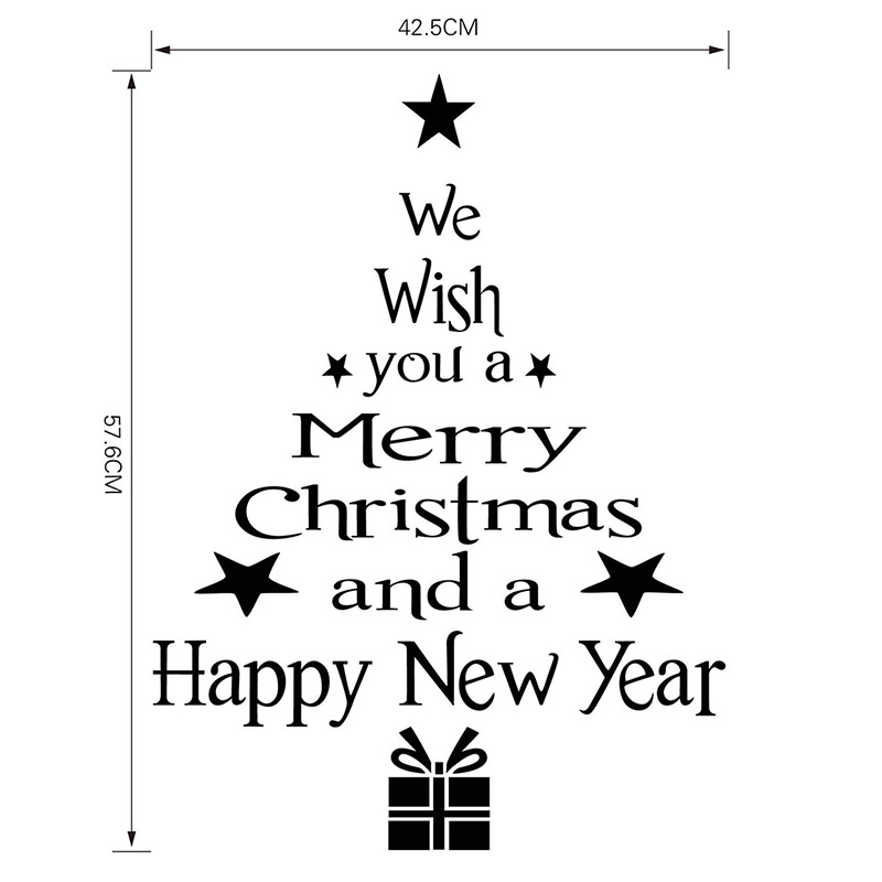 Christmas Vinyl Wall Sticker We Whish You A Merry And Happy New Year Xmas Art Decal Poster Window In Stickers From Home