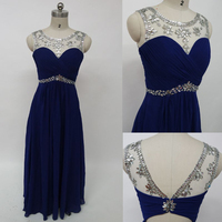 In Stock Under 100 Long Floor Length Royal Blue Pleated Chiffon Bridesmaid Dresses Crystal Beading Bridesmaid