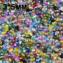JHNBY AAA Water droplet pear shaped Austrian crystals loose beads ball 3*5mm 100pcs supply glass bracelet Jewelry Making DIY