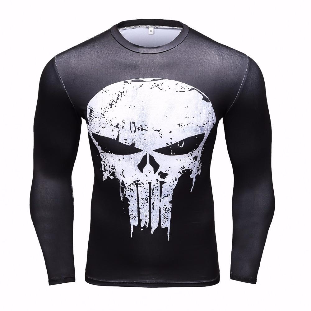 New Compression Fashion Men T-Shirt Superman/Batman/Ironman/Spiderman/Skull Punisher Long Sleeve 3D T Shirt Tops Crossfit Tshirt