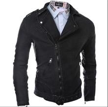 New Arrival 2015 Autumn Winter Jeans Jacket Men Slim Long Sleeve Zipper Cotton Casual Black Jean