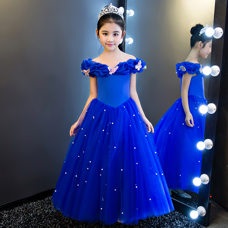 Blingbling Princess Dress Flower Girls Dresses Blue Evening Party Dress Birthday Party Costume First Holy Communion Dress D120 music note party swing dress