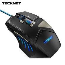 Tecknet Gaming Mouse Профессиональный Программируемый USB, проводная оптическая компьютерных мышей 6 точек/дюйм уровень 7000 точек/дюйм 8 Кнопка регулируемый светодиодный цвет