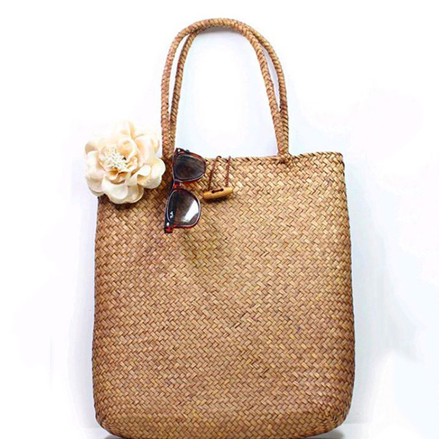 FGGS-Women Handbag Summer Beach Bag Rattan Woven Handmade Knitted Straw Large Capacity Totes Women Shoulder Bag Bohemia New 4