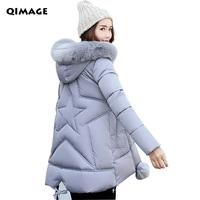 Winter Jackets 2017 Women Parka Jacket Female MediumLong Parka Fur Hood Coat Women Cotton Jacket Abrigos