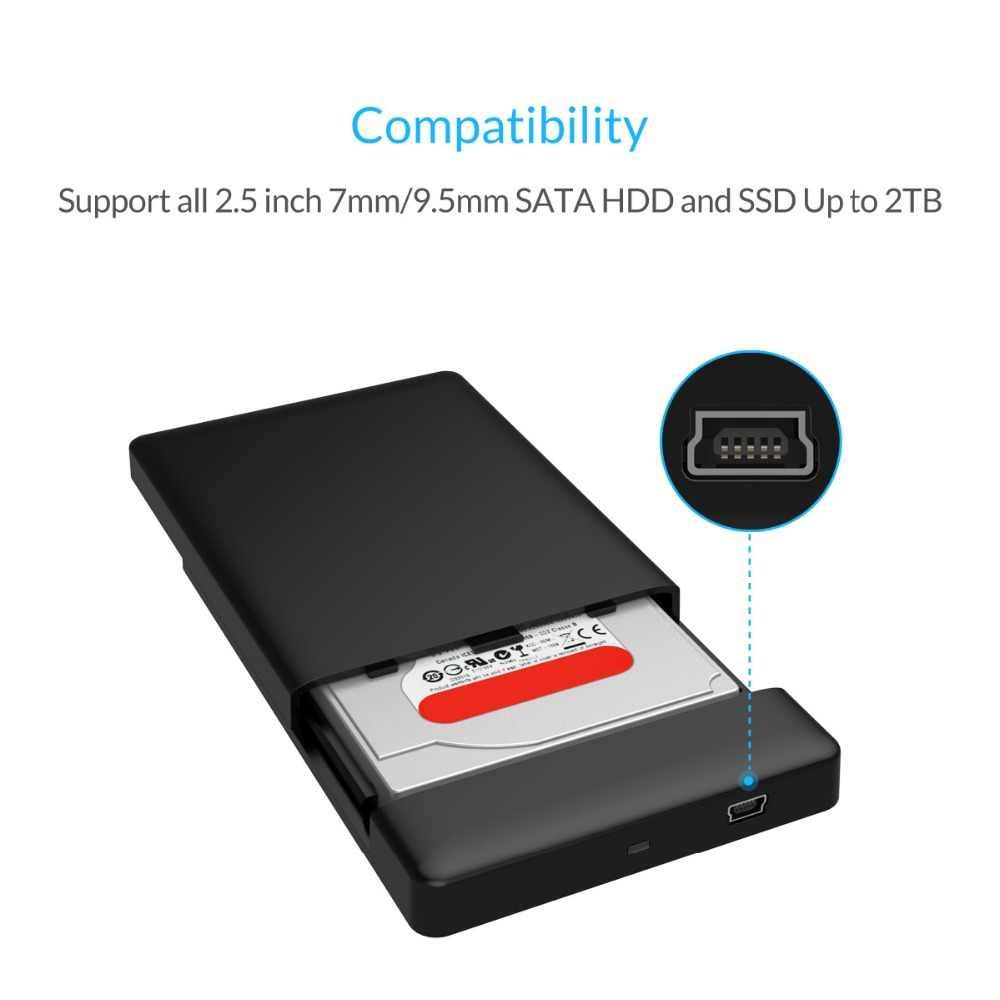 Orico 2.5 Inch HDD Case Portable Sata USB 2.0 Hard Drive Eksternal Perumahan HDD Kandang Kotak untuk Hard Disk SSD