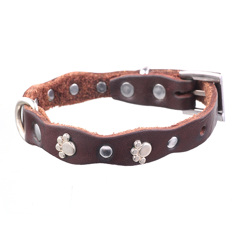 Brown Genuine Leather Dog Collar for small Dogs Pet Puppy Necklace with Footprint Paw Style Handmade Chihuahua Basic Collar XS S