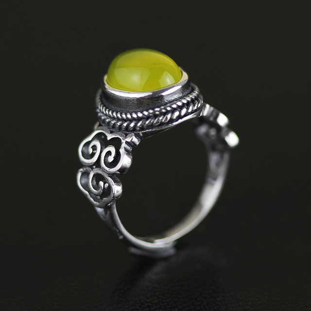 Lotus Fun Antique Vintage Rings With Natural Chalcedony Genuine 925 Sterling Silver Fine Jewelry New Accessories For Women