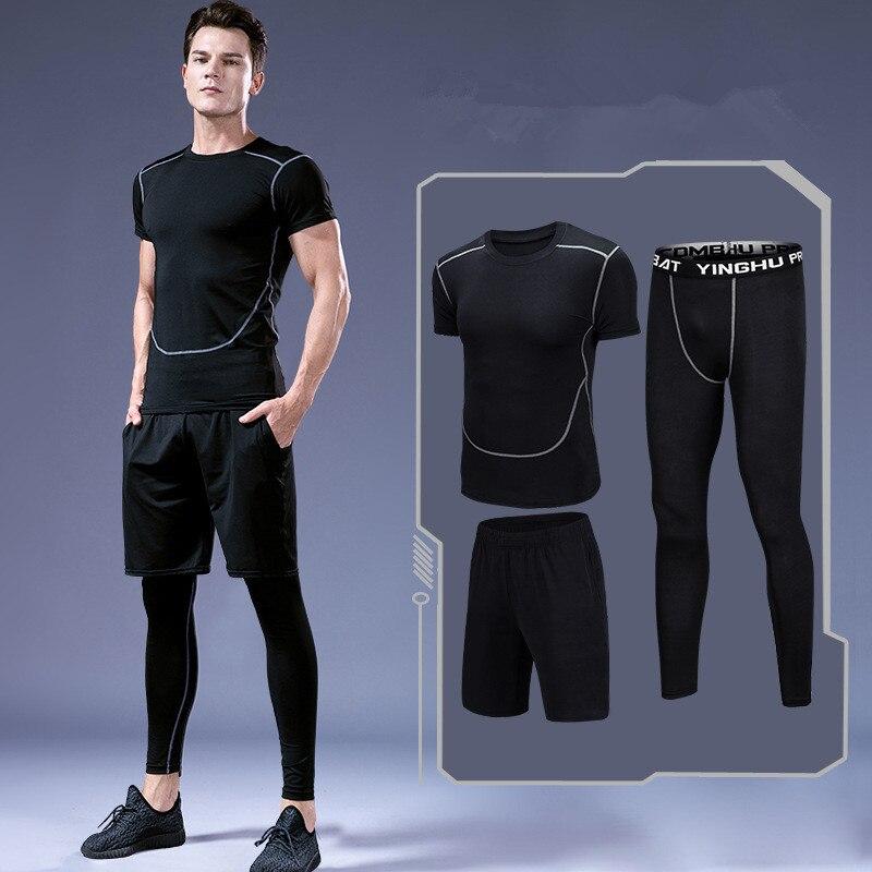 3 pièces/ensemble hommes Sport costumes séchage rapide ensembles de course vêtements Sport Joggers entraînement Gym Fitness survêtements Sportsware costume