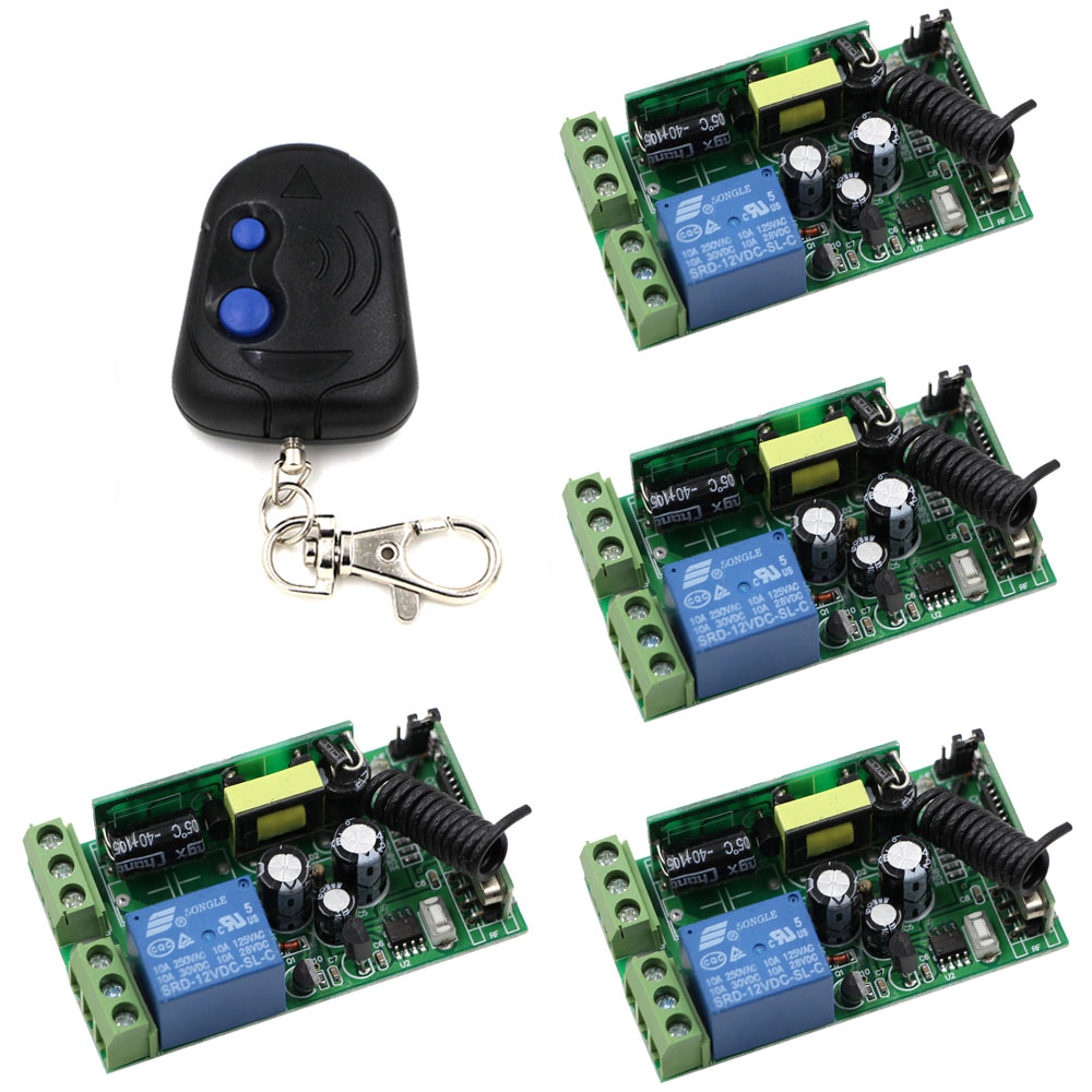 Smart Home AC 85-250V Wireless 1CH Relay Remote Control Switch Receiver + 2 Buttons Remote Transmitter 315Mhz / 433Mhz ac 220 v 1 ch wireless remote control switch system 4x transmitter with 2 buttons 1 x receiver light lamp ledon off 315 433mhz