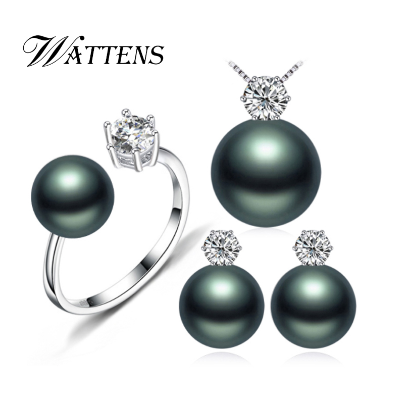 Pearl earrings necklace Pendant ring for women natural Freshwater black pearl jewelry set 925 sterling silver jewelry sets gift real freshwater pearl jewelry set women trendy anniversary 925 sterling silver ring jewelry necklace earring sets
