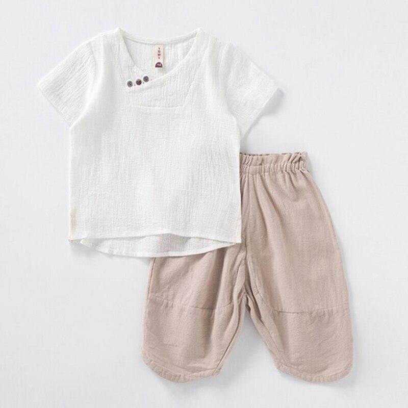 cb0de493338f3 US $13.43 30% OFF|Cotton Linen Kids Boys Clothes Children Clothing Sets  Summer Baby Boy Clothes Children's Sets O Neck Tops + Shorts 2pcs-in  Clothing ...