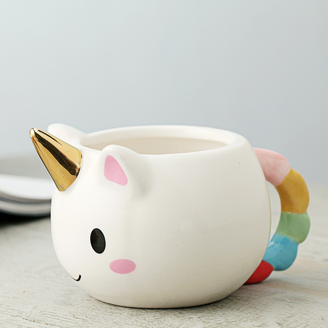 300ml 3D Unicorn Mug Creative Ceramic Coffee tea Cup Cute Cartoon Unicorn Mugs Novelty gifts Porcelain milk Cup for office 2