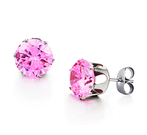 4289e0b6537f2 US $5.99 |10mm Clear Pink CZ 316L Stainless Steel Unisex Men Women Square  Stud Earrings Free Shipping-in Stud Earrings from Jewelry & Accessories on  ...