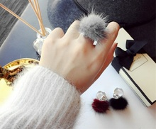 Adjustable Female Fashion Plush Jewelry Fluffy Balls Mink Trendy Rings For Women Wedding Party Bands Index Opening Hairy Rings