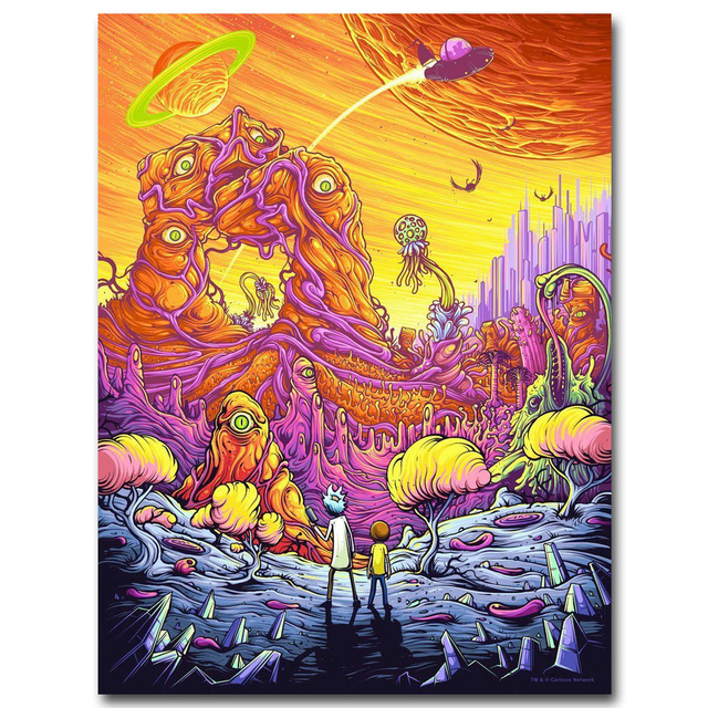 Rick and Morty Art Silk Fabric Poster Print