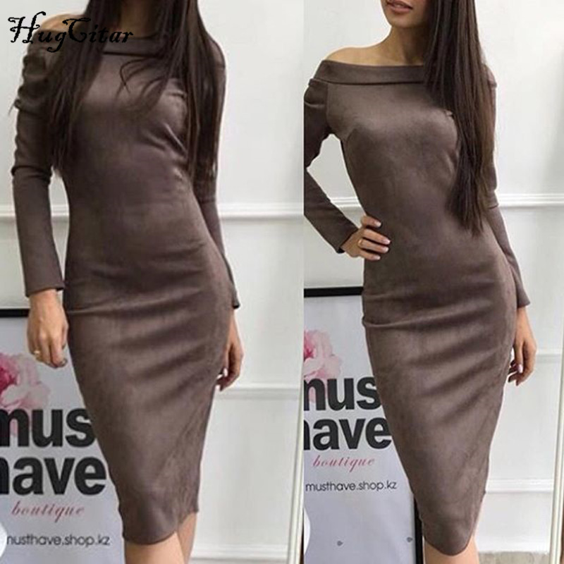 Hugcitar Suede Long Sleeve off shoulder Women mid calf Dress 2018 Autumn Winter Female sexy Bodycon