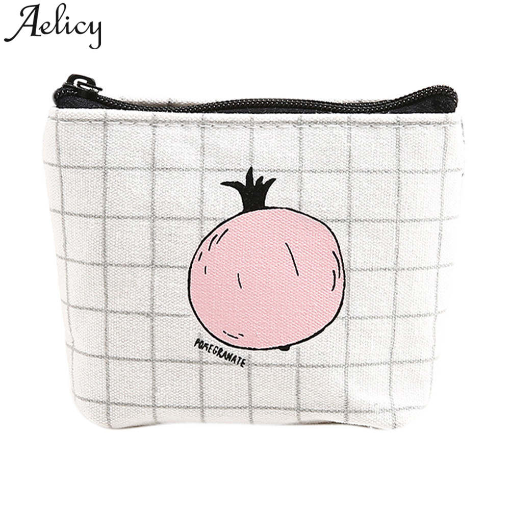 Aelicy New Brand Leather Purses Small Fresh Casual Coin Wallet Lady Fashion Fruits Pattern Cartoon Dollar Money Bag Carteira