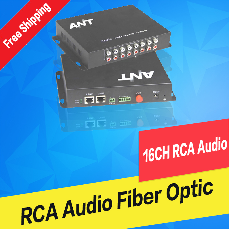 16ch RCA audio to fiber optic converter 20km/100km,point to point or Daisy-Chain connection