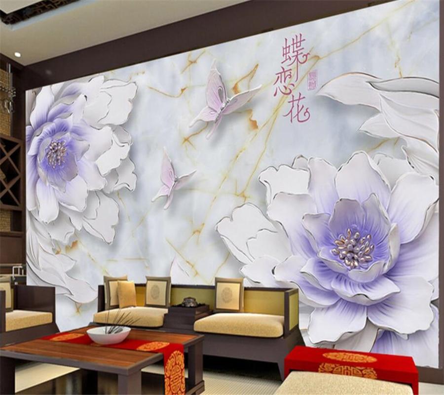 Beibehang Custom Wallpaper 3D TV Living Room Bedroom Wall Murals Relief Flower Butterfly Love Flower Background 3d Wallpaper