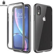 Supcase para iphone xr 6.1 polegadas caso ub electro completo corpo claro chapeado brilho magro híbrido capa com built in protetor de tela