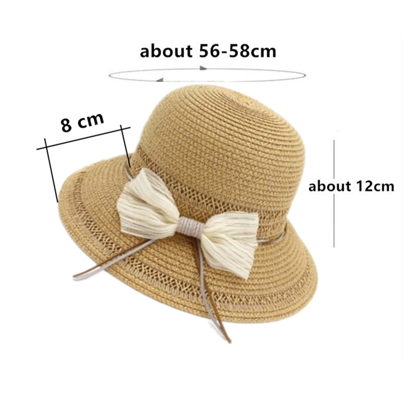 SILOQIN Foldable Adult Women 39 s Straw Hat Summer Breathable Sun Hats For Women Bow Decoration Big Visor Elegant Lady Beach Hat in Women 39 s Sun Hats from Apparel Accessories