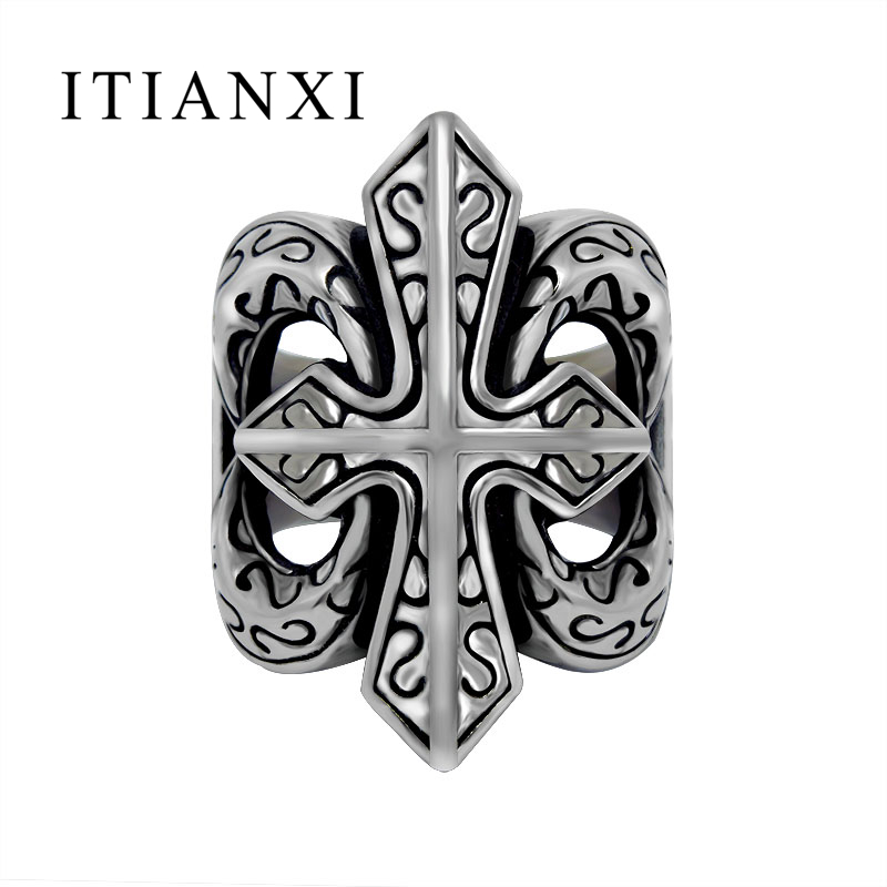 ITIANXI Big Cross Hand Polished Man Woman Ring Ancient Stylish Trendsetter Antique Charms Finger Ring Personality Simple Jewelry