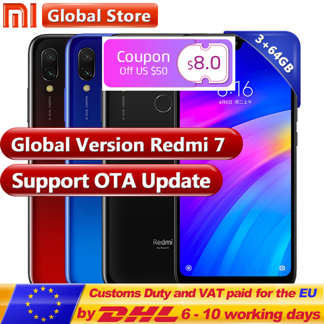 Global version Xiaomi Redmi 7 3GB 64GB Smartphone Snapdragon 632 Octa Core 12+2MP Dual Camera phone 4000mAh 6.26'' Full screen