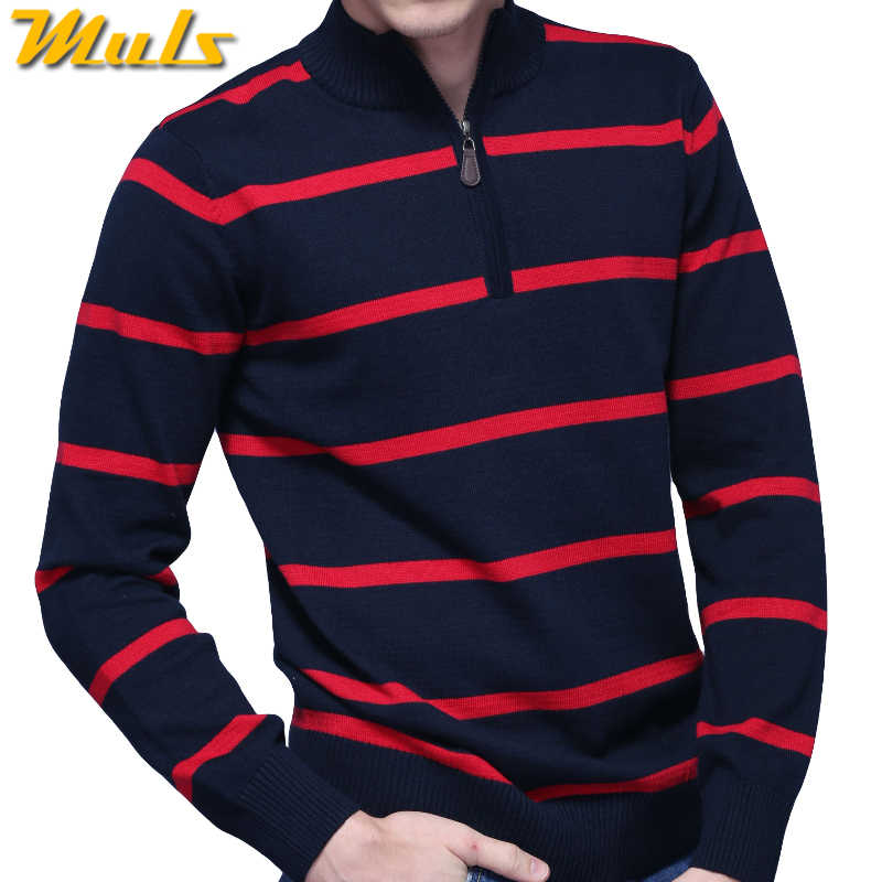 603571da25d 3Colors Muls Brand Polo Striped Sweater Men Pullover Winter Cotton ...