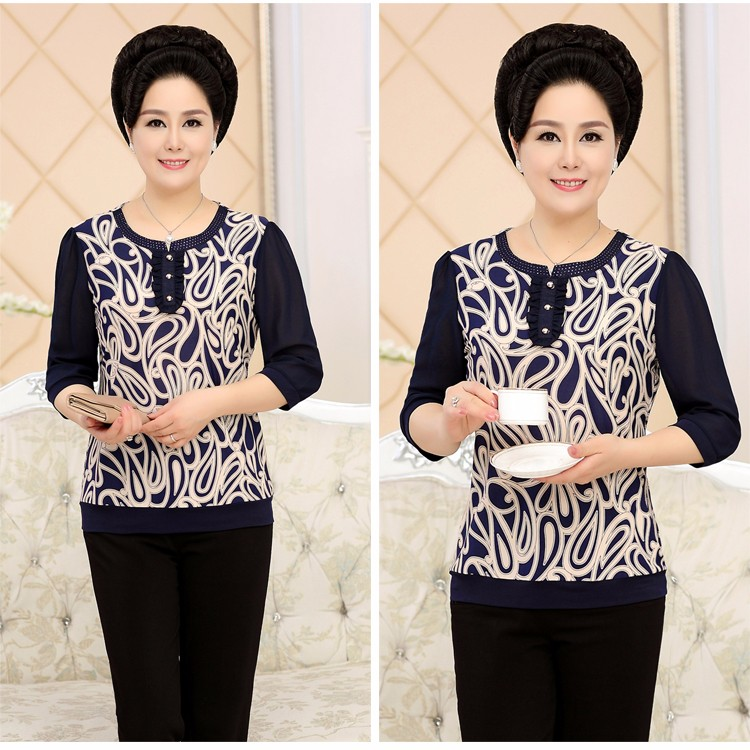 2017 Mother Chiffon Blouses Floral Print Tops Middle Aged Woman's Three Quater Sleeve Tunic Mature Lady Short Shirts O-neck Tops Plus Size Blouse (9)