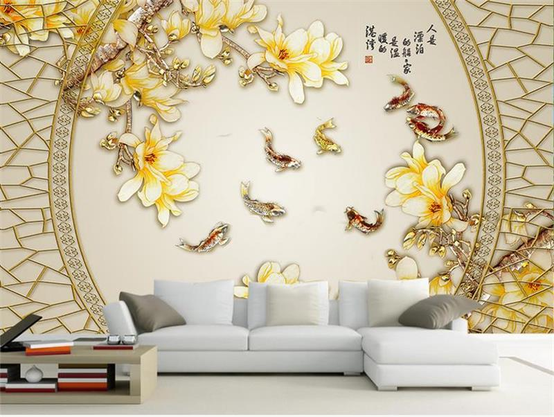 Us 14 99 50 Off Custom Photo 3d Wallpaper Non Woven Mural Home Magnolia Nine Fish Koi Decoration Painting 3d Wall Murals Wallpaper For Walls 3d In