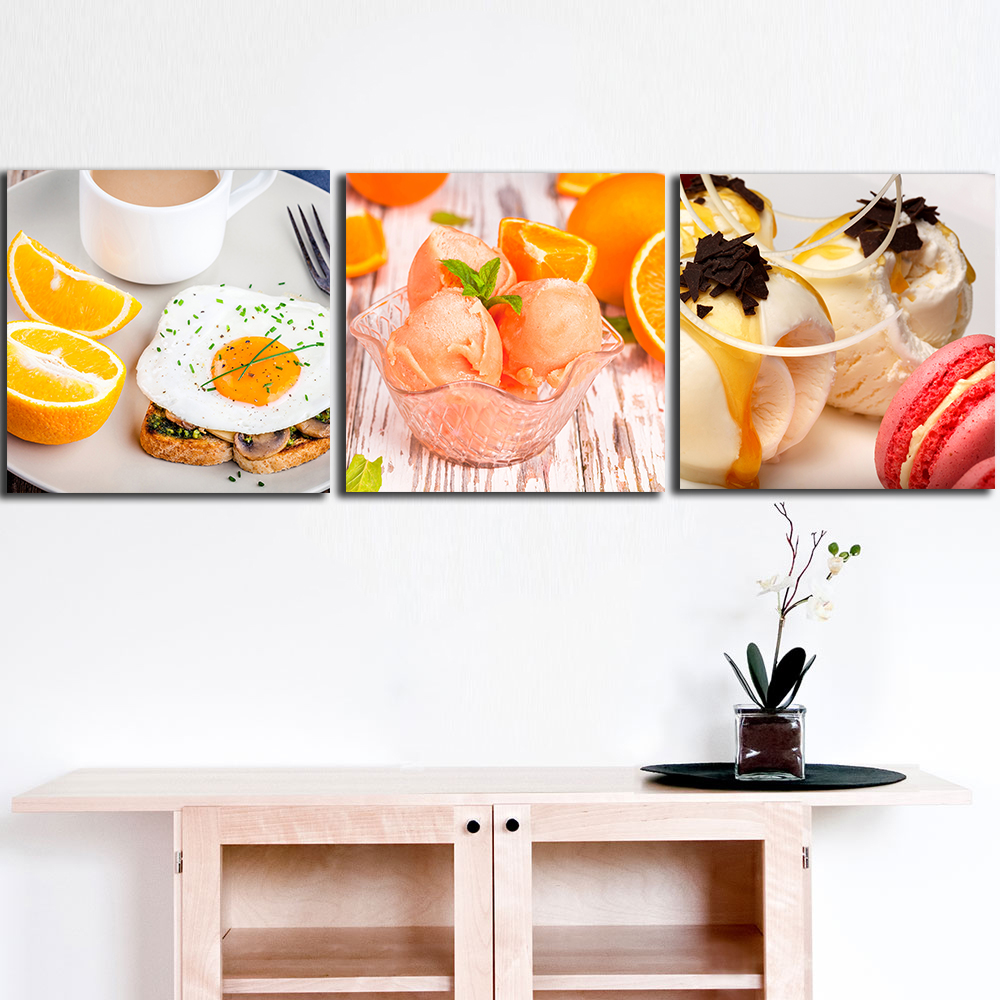 Kitchen Canvas Wall Decor: 3pcs Sweets_Ice_cream Paintings For The Kitchen Fruit Wall