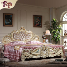 American neo-classical bed  bedroom double bed  1.9 m marriage bed wood furniture wholesale Cheap