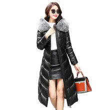 Genuine Leather Down Jacket Women Large Size Overcoat 2019 Winter New Lady Sheepskin Outerwear Hooded Fur collar Slim coats FC26(China)