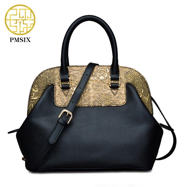 Pmsix 2017 Women Leather Bag Cattle Split Leather Gold Patchwork Ladies Shoulder Bags Tote Bag Female Retro Vintage Bags P120037