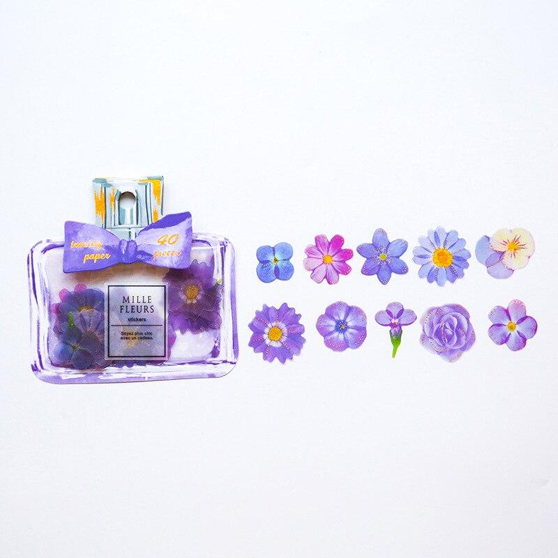 Купить с кэшбэком Kawaii Bow-knot Perfume Bottle Sticker Pack Creative Petal Flake Scrapbook Calendar Notebook Label Memo Decoration DIY Stickers