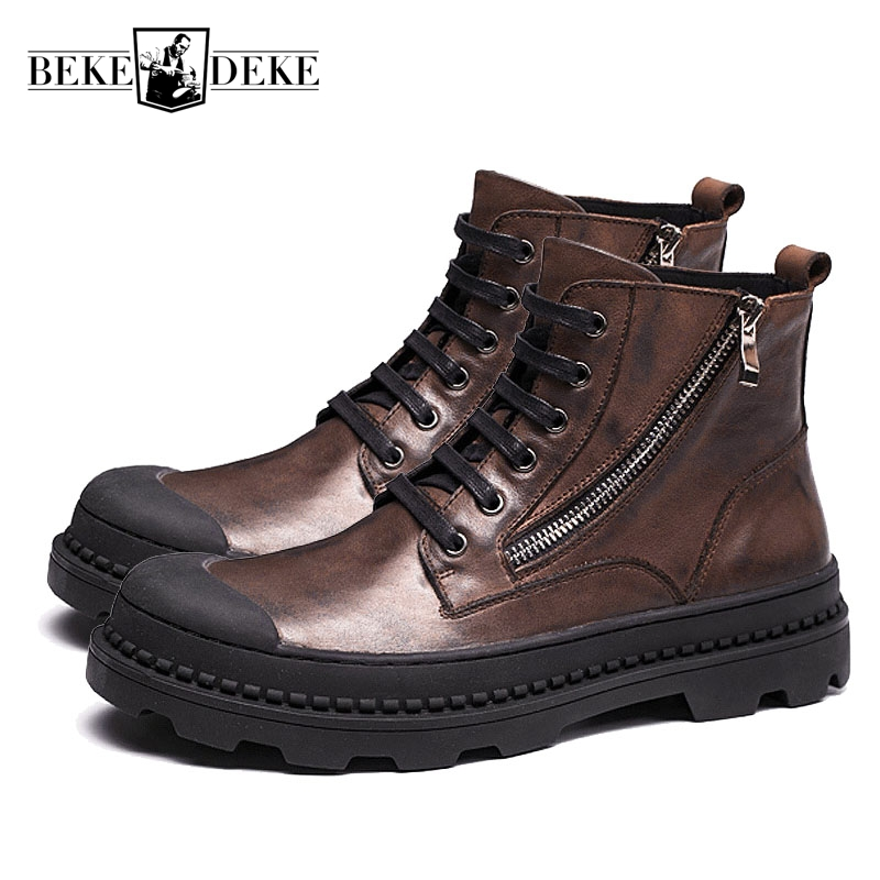 Mens Boots Winter High Help Genuine Leather Boots Desert Boots Round Toe Fleece Lining Warm Shoes Lace Up Footwear Side Zipper classic winter boots leather shoes leather high heeled boots boots side zipper rose