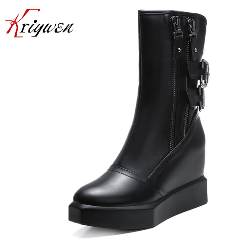 2016 New Arrival winter Women fashion Mid-calf Boots double zipper ultra 11cm wedges Motorcycle femmes botas top quality boots double buckle cross straps mid calf boots