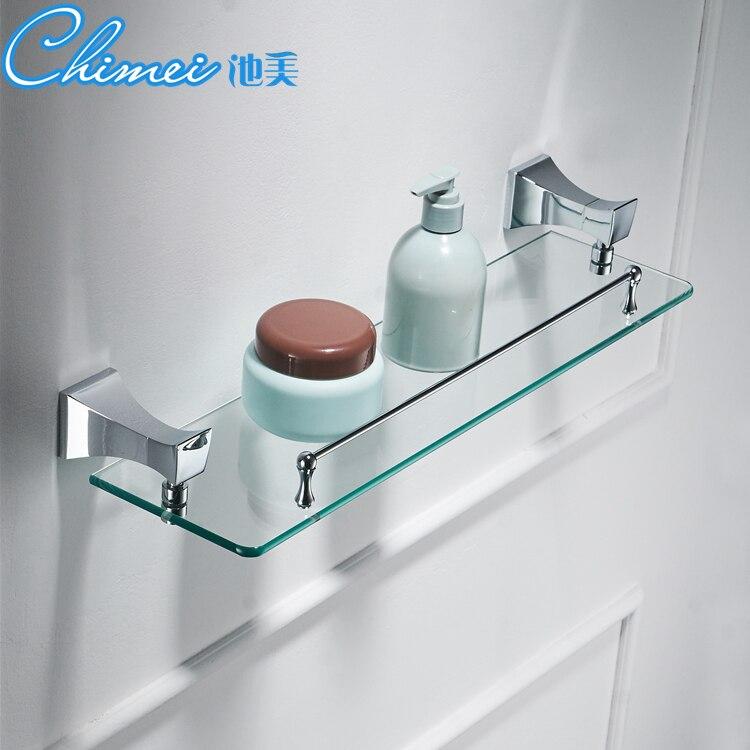 Silver Bathroom Shelves Copper Single Tempered Glass Shelf Towel Bar ...