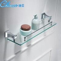 Silver Bathroom Shelves Copper Single Tempered Glass Shelf Towel Bar Shower Storage Towel Hanger Rack Accessories Holder Sj45
