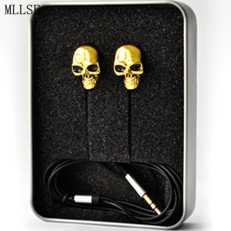MLLSE Halloween Metal Skull In-ear Earphones 3.5mm Stereo Earbuds High Quality Music Game Headset for Iphone Samsung MP3 MP4 PSP