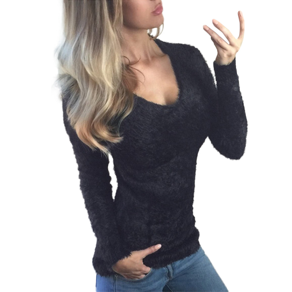 Women long sleeve sweater shirt casual outwear tops and blouse slim fit sweaters fashion v-neck tight-fitting bottoming top
