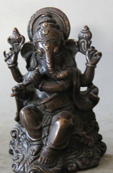 "6"" Old Tibet Bronze Seat 4 Amrs Ganesh Lord Ganesha Elephant God Buddha statue S0705 Discount 35% statues gods statues buddha statue ganesha - title="