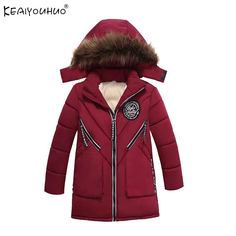 Пальто для мальчиков 2017 Новая детская одежда куртки для мальчиков для Детские зимние штаны теплая Длинная Верхняя одежда с капюшоном Рожде...