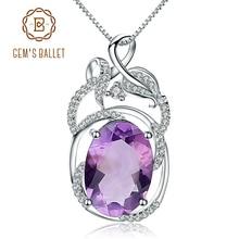 Gems الباليه 6.19Ct الطبيعية جمشت الأحجار الكريمة خمر قلادة قلادة الصلبة 925 فضة غرامة مجوهرات للنساء